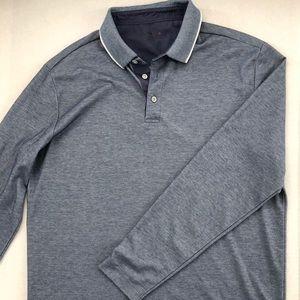 Long Sleeve Polo Shirt L Excellent BLUE Cotton/Pol